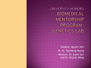 University Honors Biomedical Mentorship Program: Genetics Lab