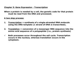 Chapter 5: Gene Expression - Transcription