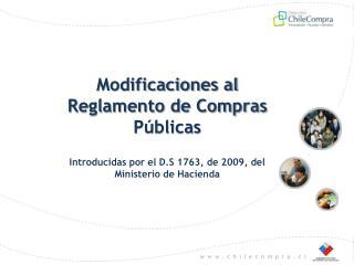 Modificaciones al Reglamento de Compras Públicas