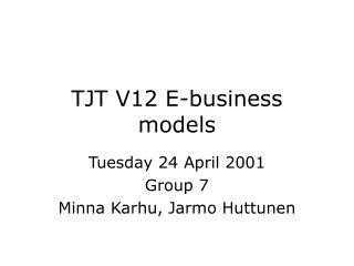 TJT V12 E-business models