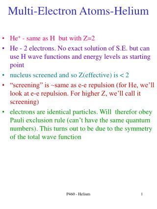Multi-Electron Atoms-Helium