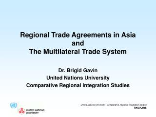 Regional Trade Agreements in Asia and The Multilateral Trade System