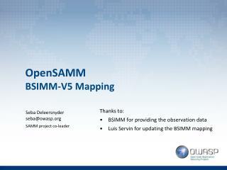 OpenSAMM BSIMM-V5 Mapping