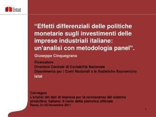Giuseppe Cinquegrana Ricercatore Direzione Centrale di Contabilità Nazionale