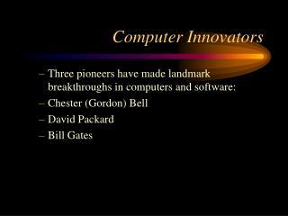 Computer Innovators