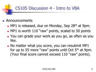 CS105 Discussion 4 - Intro to VBA