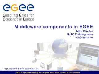 Middleware components in EGEE Mike Mineter NeSC Training team mjm@nesc.ac.uk