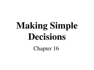 Making Simple Decisions