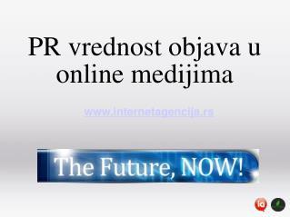 PR vrednost objava u online medijima