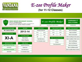 E-zee Profile Maker (for 11-12 Classes)