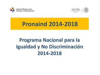 Programa Nacional para la Igualdad y No Discriminación 2014-2018