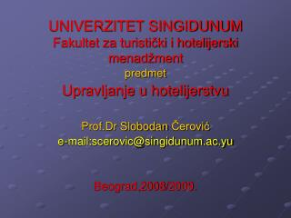 UNIVERZITET SINGIDUNUM Fakultet za turisticki i hotelijerski menad ment
