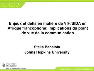 Stella Babalola Johns Hopkins University