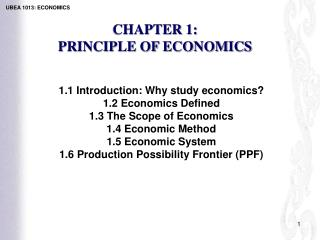 CHAPTER 1:  PRINCIPLE OF ECONOMICS