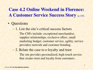 Case 4.2 Online Weekend in Florence: A Customer Service Success Story  (p.150)
