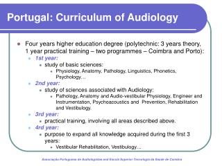 Portugal: Curriculum of Audiology