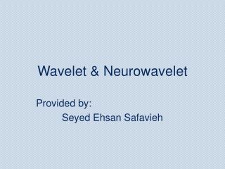 Wavelet  Neurowavelet