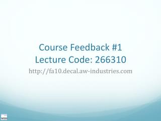 Course Feedback #1 Lecture Code: 266310
