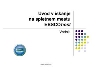 Uvod v iskanje  na spletnem mestu EBSCO host