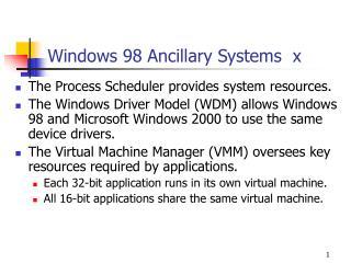 Windows 98 Ancillary Systems   x