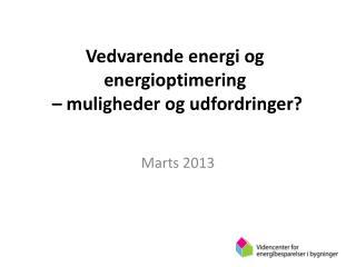 Vedvarende energi og energioptimering   – muligheder og udfordringer?