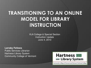 Transitioning to an Online model for Library Instruction