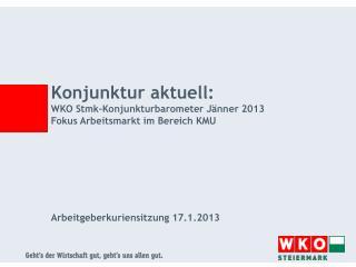 Konjunktur aktuell:  WKO  Stmk-Konjunkturbarometer  Jänner  2013