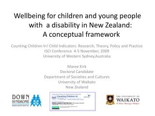 Wellbeing for children and young people with  a disability in New Zealand:  A conceptual framework