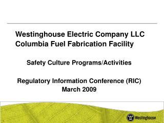 Westinghouse Electric Company LLC Columbia Fuel Fabrication Facility