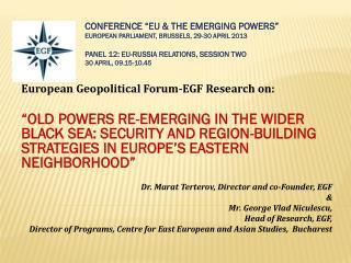 European Geopolitical  Forum-EGF  Research on: