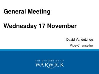 General Meeting Wednesday 17 November