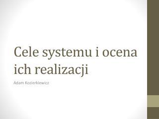 Cele systemu i  ocena ich realizacji
