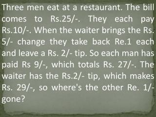 Three men eat at a restaurant. The bill comes to Rs.25