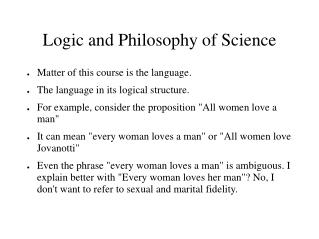 Logic and Philosophy of Science