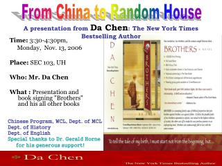 A presentation from  Da Chen : The New York Times Bestselling Author