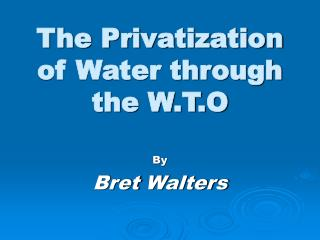 The Privatization of Water through the W.T.O
