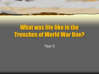What was life like in the Trenches of World War One?