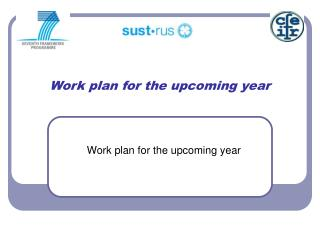 Work plan for the upcoming year
