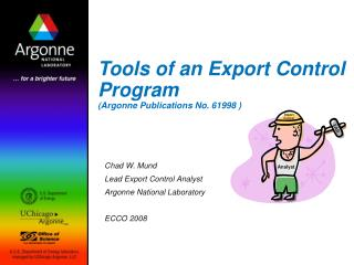 Tools of an Export Control Program (Argonne Publications No. 61998 )