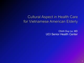 Cultural Aspect in Health Care  for Vietnamese American Elderly