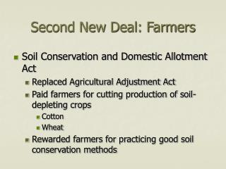 Second New Deal: Farmers