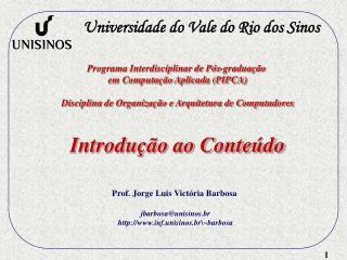 Programa Interdisciplinar de Pós-graduação  em Computação Aplicada (PIPCA)