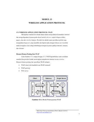 MODUL 13 WIRELESS APPLICATION PROTOCOL 13.1 WIRELESS APPLICATION PROTOCOL (WAP)