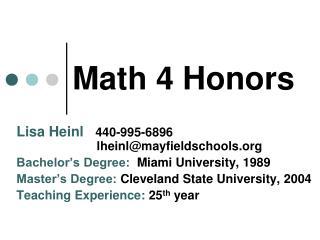 Math 4 Honors