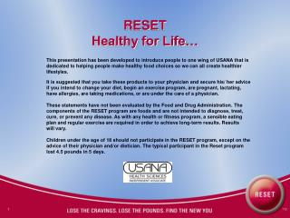 RESET Healthy for Life…