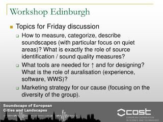 Workshop Edinburgh