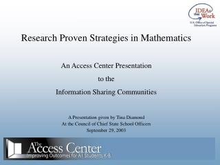 Research Proven Strategies in Mathematics An Access Center Presentation to the