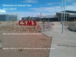 Welcome to School Year 2012-2013!