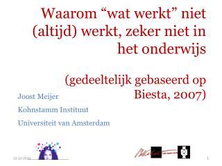 Joost Meijer Kohnstamm Instituut Universiteit van Amsterdam