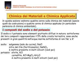 Chimica dei Materiali e Chimica Applicata
